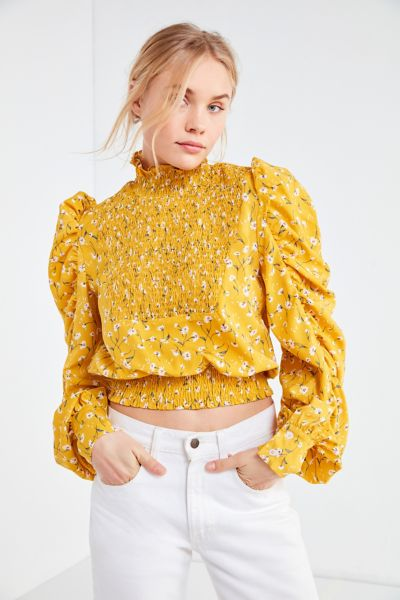 Ghospell Nobody's Fool Smocked Top - Yellow S at Urban Outfitters