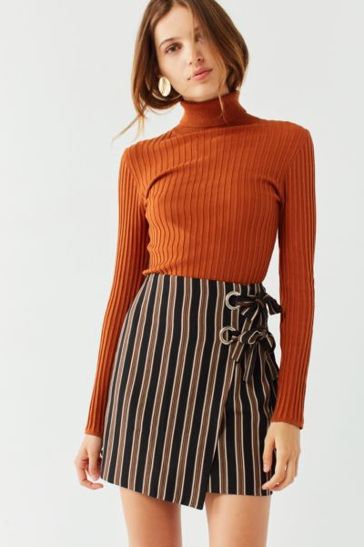 UO Grommet-Tie Wrap Mini Skirt  - Black Multi XS at Urban Outfitters