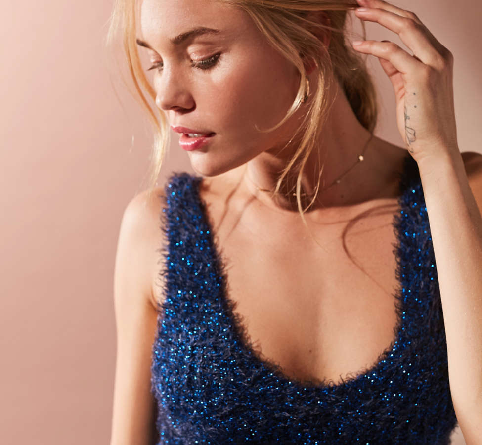 Slide View: 3: UO Valerie Fuzzy Sparkle Tank Top