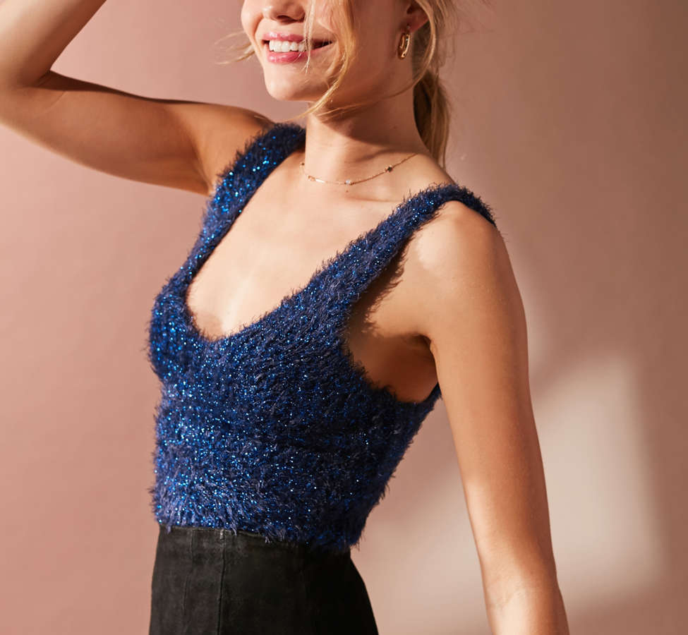 Slide View: 4: UO Valerie Fuzzy Sparkle Tank Top