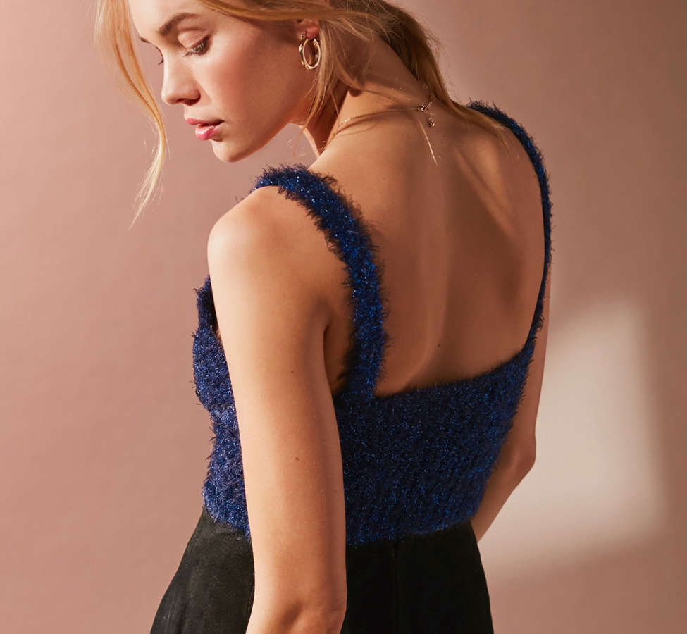 Slide View: 6: UO Valerie Fuzzy Sparkle Tank Top