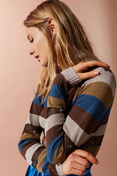 UO Kassi Striped Turtleneck Sweater - Green Multi XS at Urban Outfitters