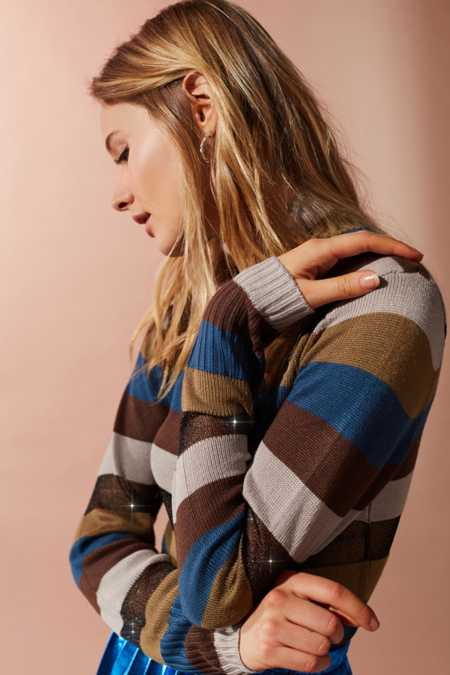 UO Kassi Striped Turtleneck Sweater
