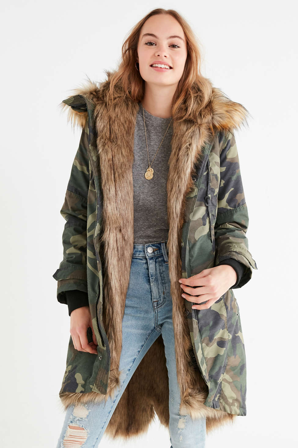 UO Aspen Detachable Faux Fur Lined Parka Jacket | Urban Outfitters