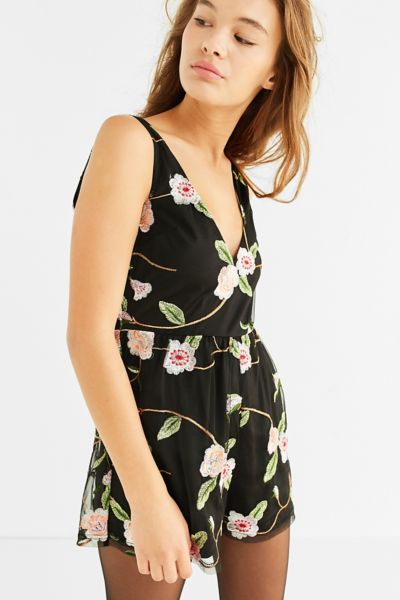 UO Floral Embroidered V-Neck Romper - Black Multi S at Urban Outfitters