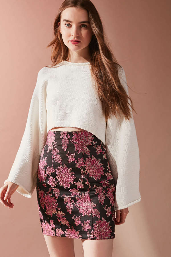 Slide View: 1: For Love & Lemons Luella Jacquard Pencil Skirt