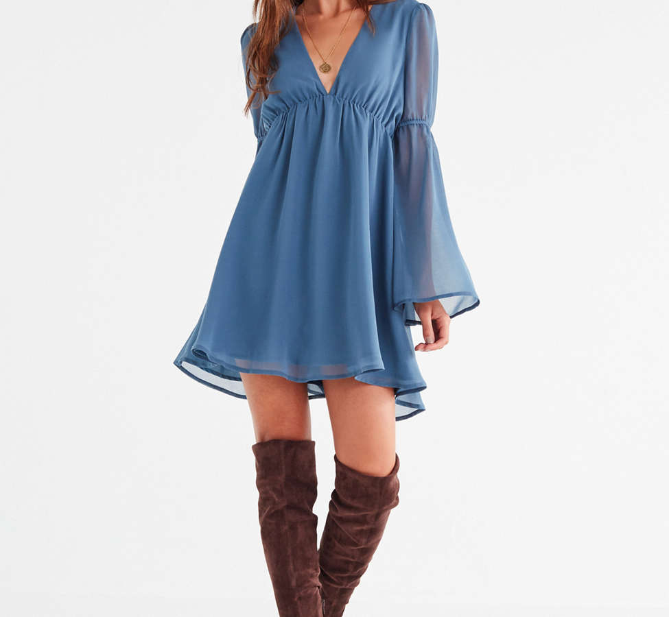 Slide View: 6: Lucca Couture Empire Waist Bell-Sleeve Dress