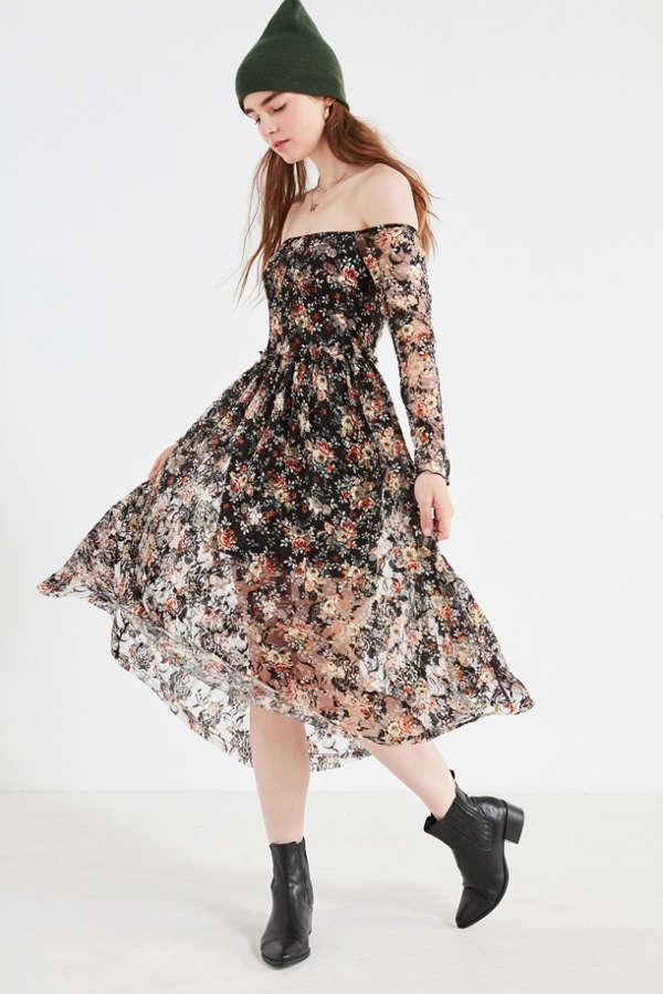 UO Off-The-Shoulder Floral Lace Midi Dress