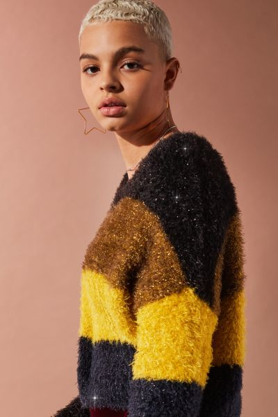 UO Fuzzy Glitter Striped Sweater - Green Multi XS at Urban Outfitters