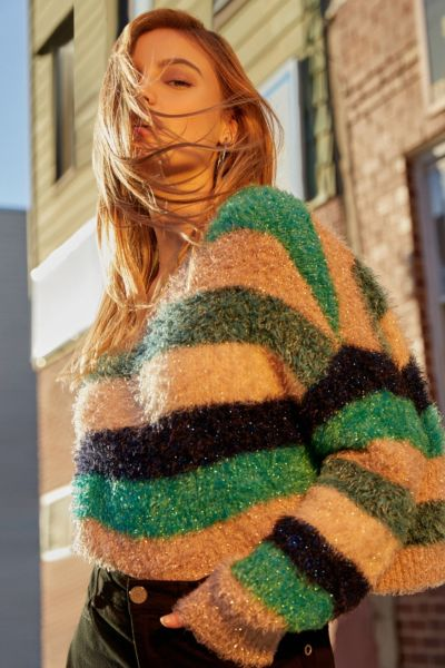 UO Fuzzy Glitter Striped Sweater - Blue Multi XS at Urban Outfitters