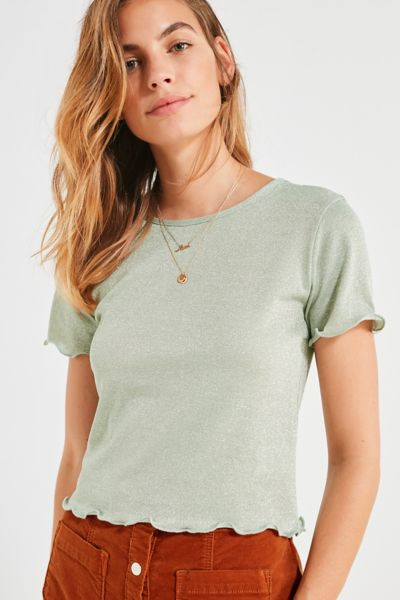 UO Emma Shimmer Lettuce Edge Tee - Green XS at Urban Outfitters