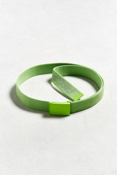Stussy Reflective Logo Web Belt - Lime One Size at Urban Outfitters