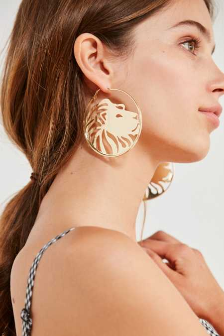 Slide View: 1: Etched Zodiac Statement Hoop Earring