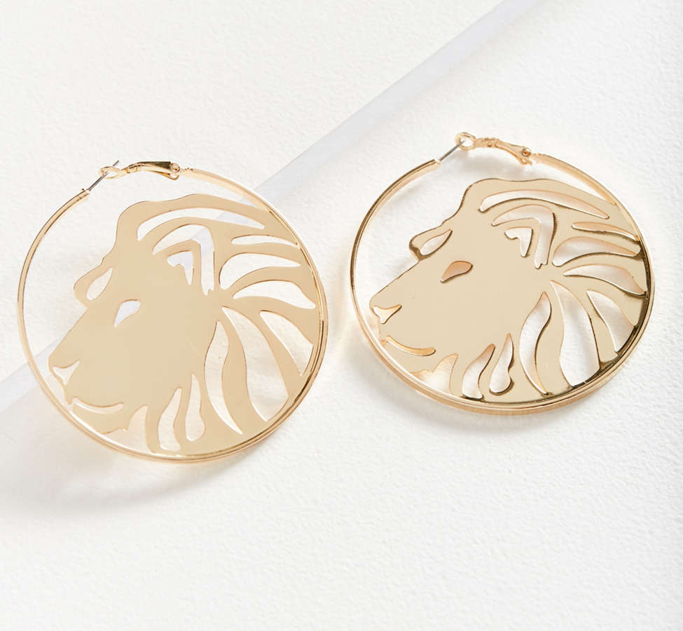Slide View: 2: Etched Zodiac Statement Hoop Earring