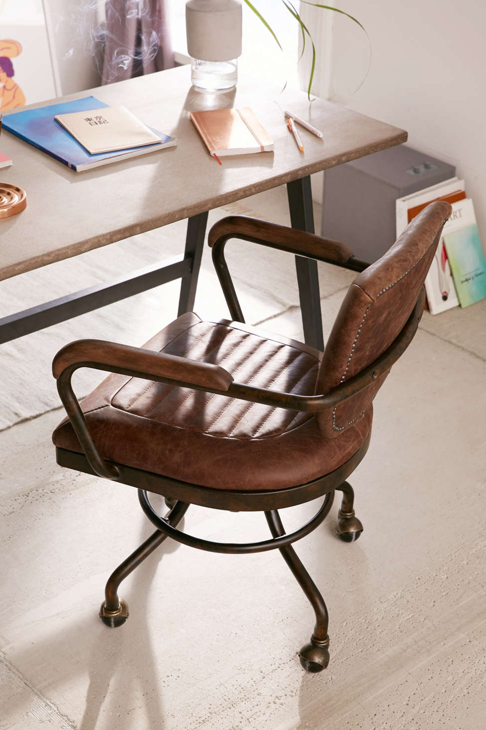Slide View: 1: Foster Leather Desk Chair