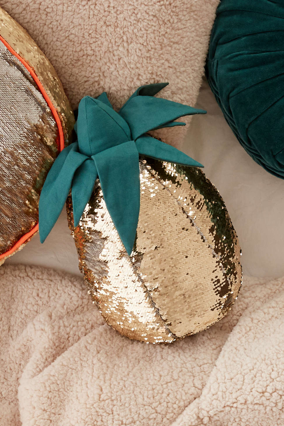 Slide View: 1: Reversible Sequin Pineapple Throw Pillow