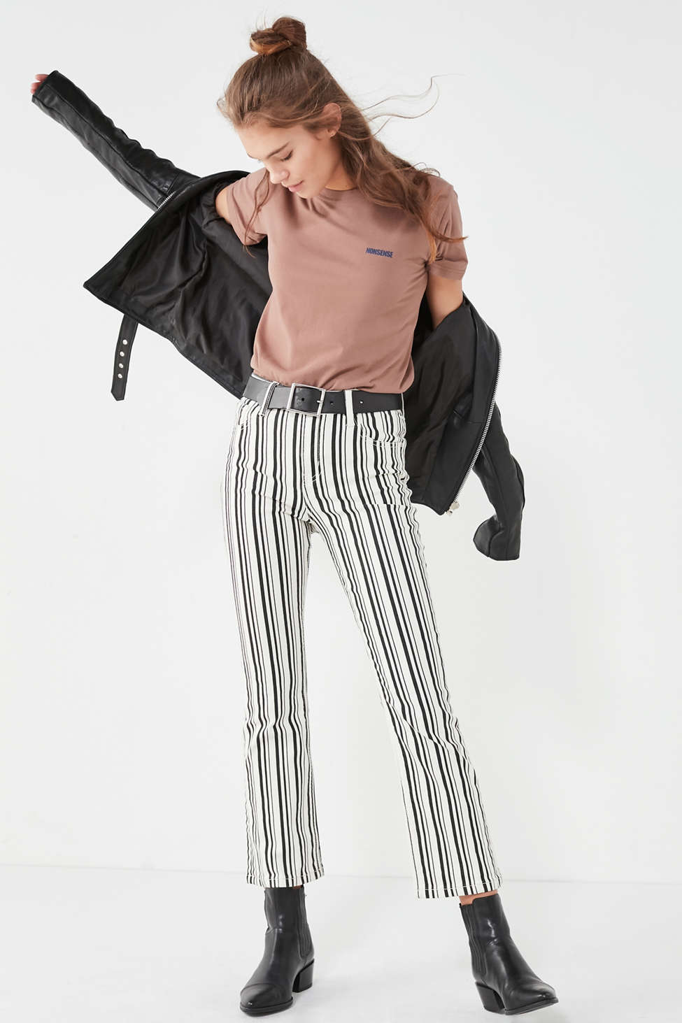 Slide View: 1: BDG Kick Flare High-Rise Cropped Jean – Stripe