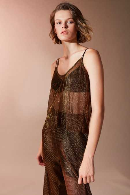 UO Sasha Copper Pleat Top
