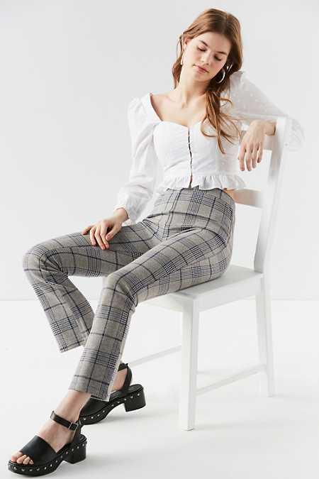 UO Casey Plaid Kick Flare Pant