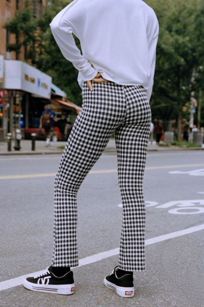 UO Cozy Plaid Kick Flare Pant - Black + White XS at Urban Outfitters