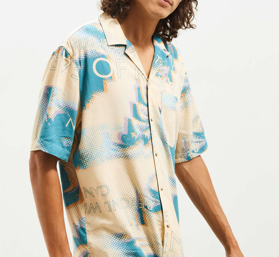 Slide View: 1: UO Future Eyes Rayon Short Sleeve Button-Down Shirt