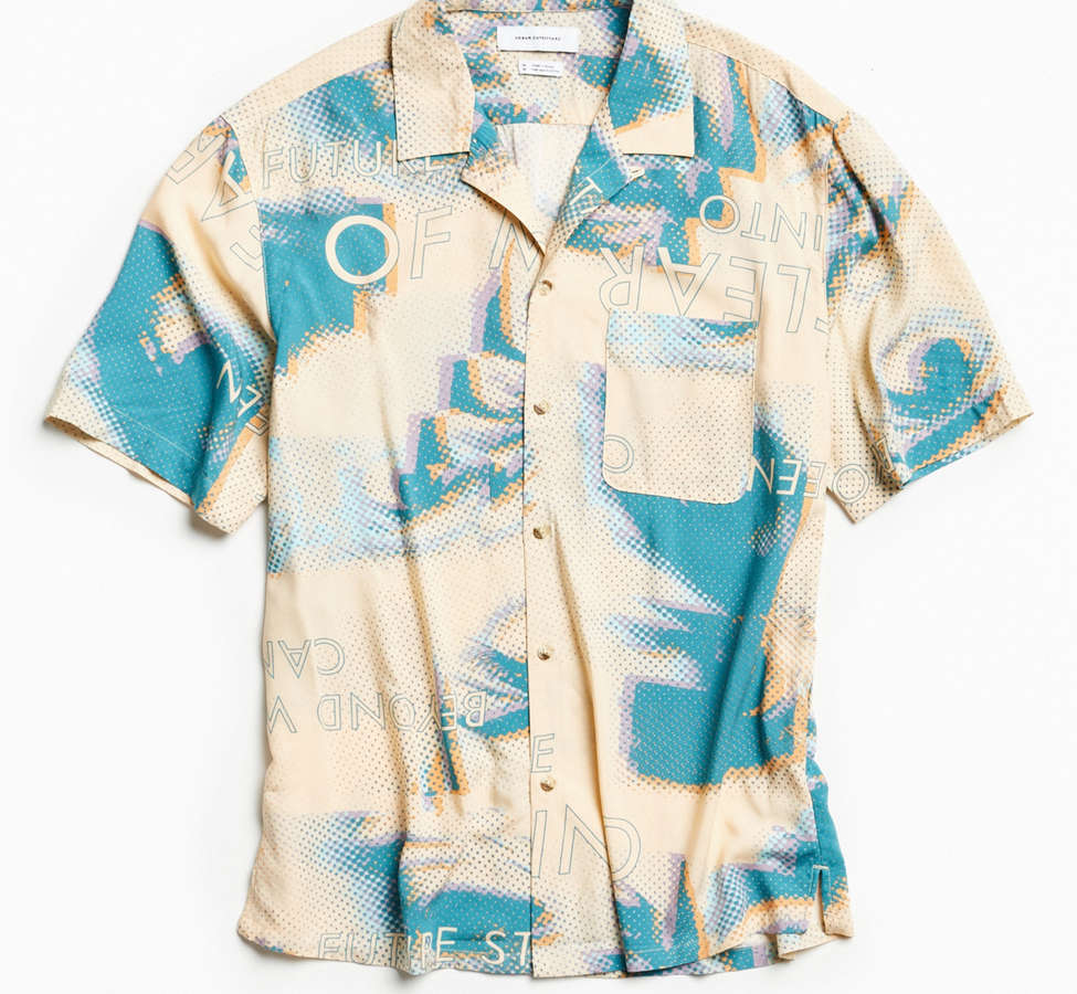 Slide View: 2: UO Future Eyes Rayon Short Sleeve Button-Down Shirt