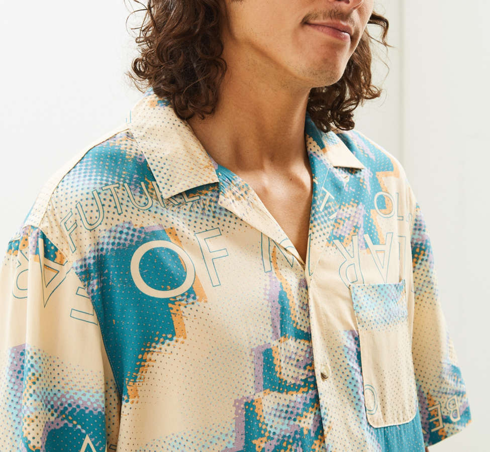 Slide View: 3: UO Future Eyes Rayon Short Sleeve Button-Down Shirt