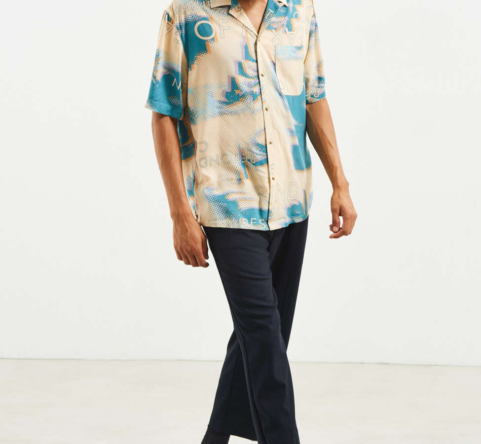 Slide View: 6: UO Future Eyes Rayon Short Sleeve Button-Down Shirt
