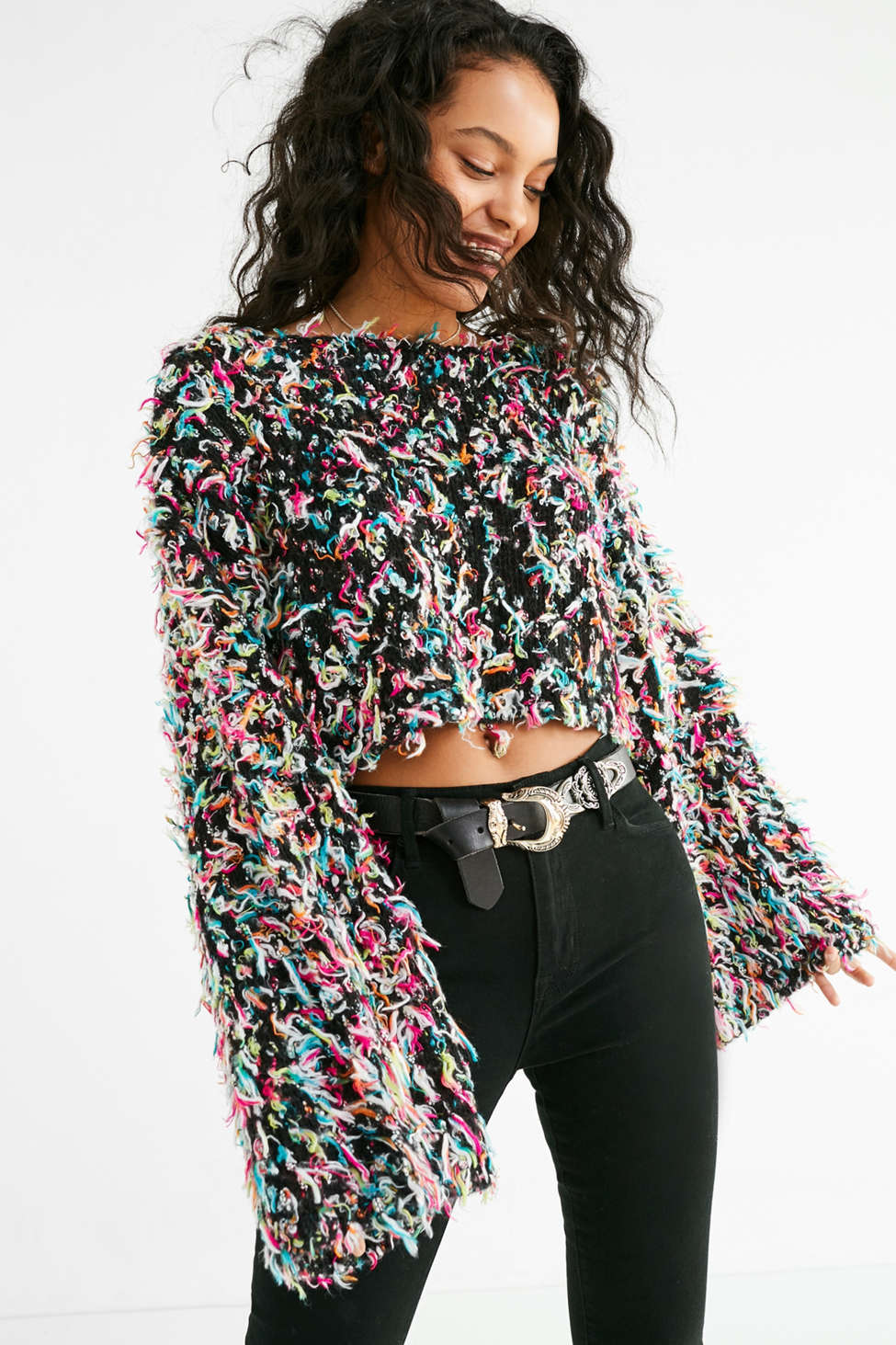 Uo Tai Cropped Fringe Sweater Urban Outfitters