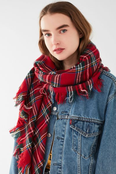Classic Tartan Square Blanket Scarf - Red One Size at Urban Outfitters