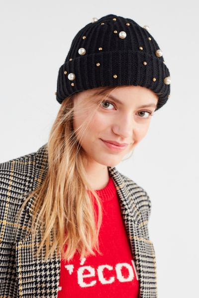 Pearl Embellished Fisherman Beanie - Black One Size at Urban Outfitters