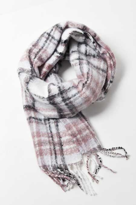 Fuzzy Plaid Scarf