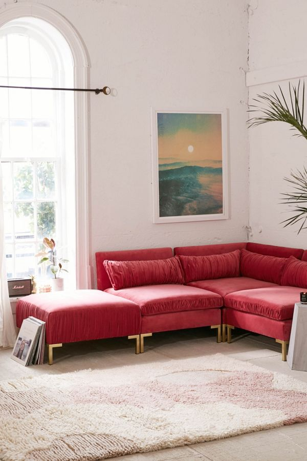 cecilia ruched velvet sectional sofa urban outfitters