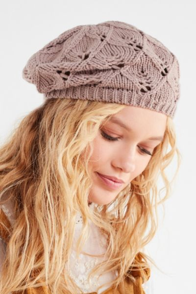 Open Knit Beret - Tan One Size at Urban Outfitters