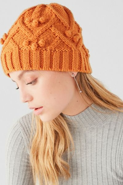 Cable Knit Bobble Beanie - Orange One Size at Urban Outfitters