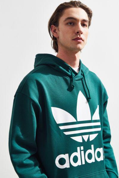 adidas Trefoil Hoodie Sweatshirt - Dark Green M at Urban Outfitters