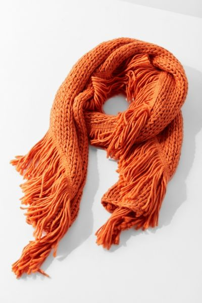 Fringed Knit Scarf - Orange One Size at Urban Outfitters