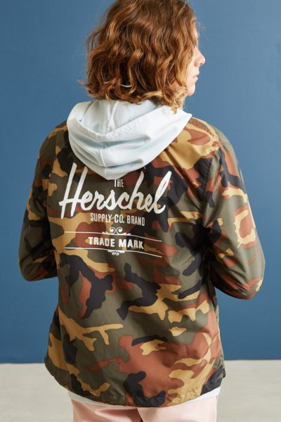 Herschel Supply Co. Camo Coach Jacket - Green Multi S at Urban Outfitters