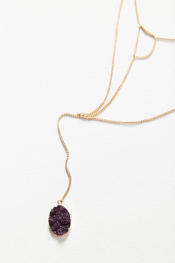 Snake chain druzy pendant necklace urban outfitters slide view 1 snake chain druzy pendant necklace aloadofball Images