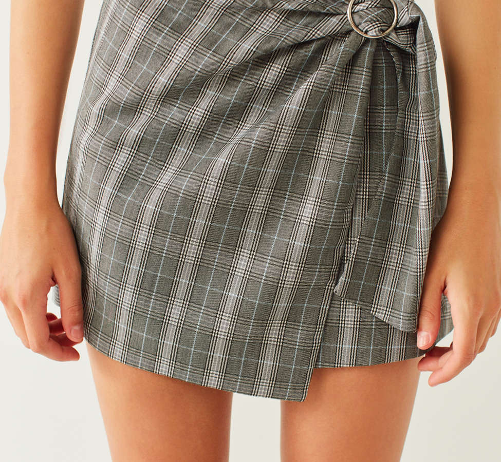 Slide View: 2: Side Party Justine Buckle Wrap Mini Skirt