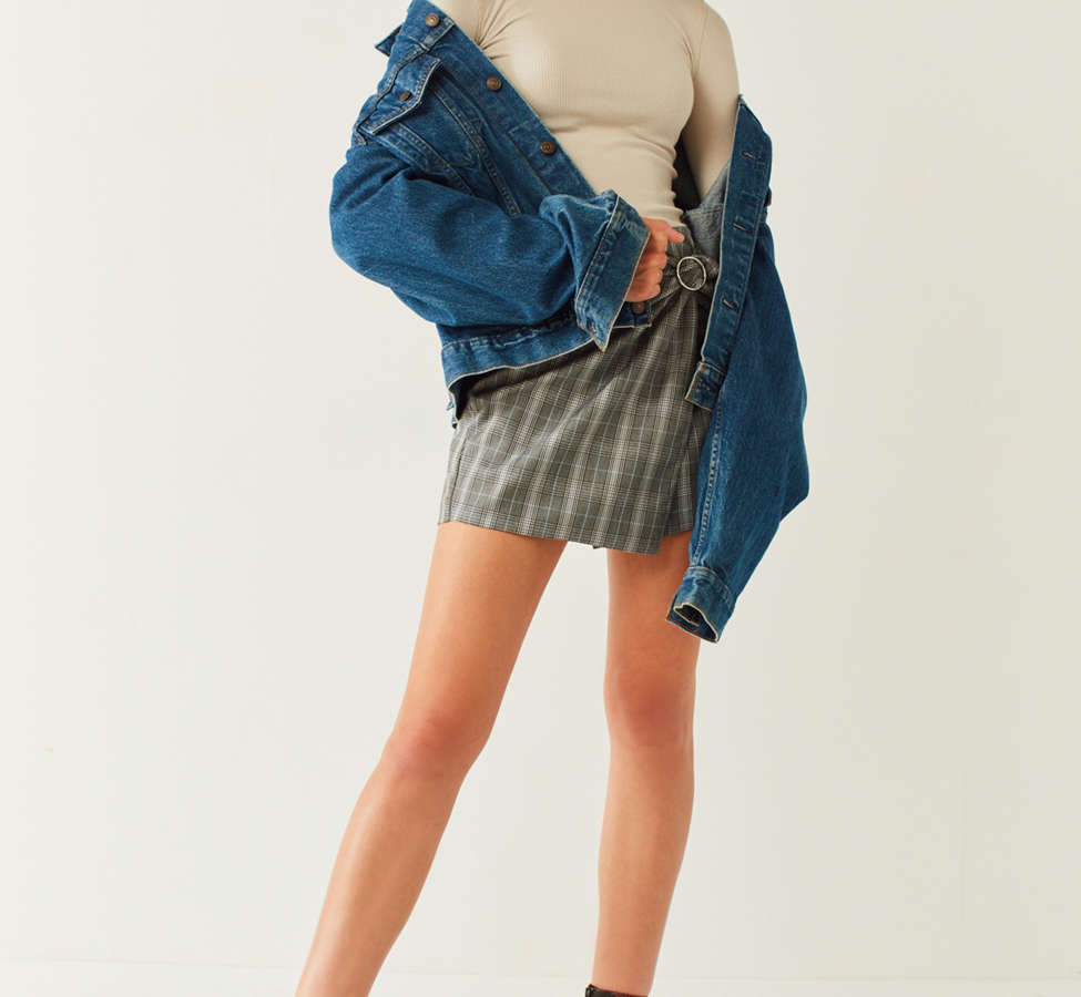 Slide View: 5: Side Party Justine Buckle Wrap Mini Skirt
