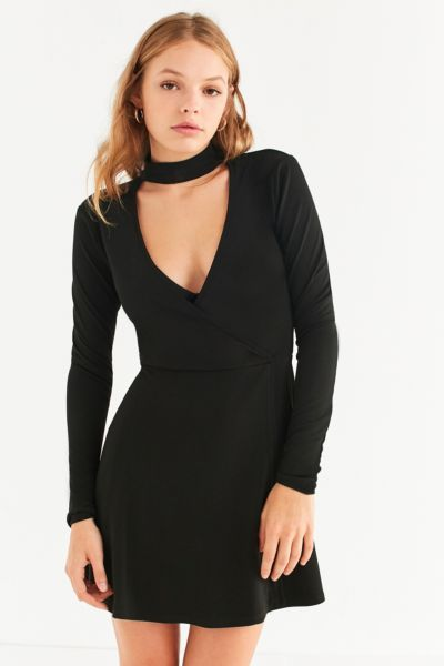 UO Cut-Out Long Sleeve Wrap Dress - Black XS at Urban Outfitters