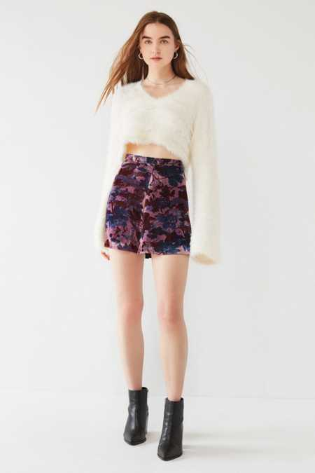 Slide View: 3: UO Cher Velvet A-Line Mini Skirt