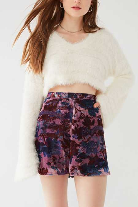 Slide View: 4: UO Cher Velvet A-Line Mini Skirt