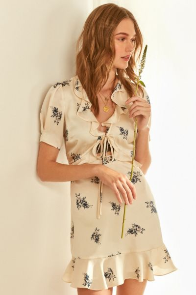 ASTR Billie Tie-Front Ruffle Mini Dress - Neutral Multi S at Urban Outfitters