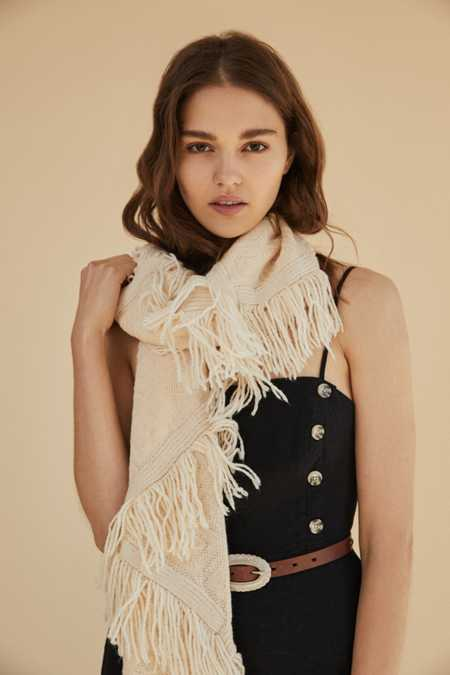Patchwork Fringed Knit Scarf