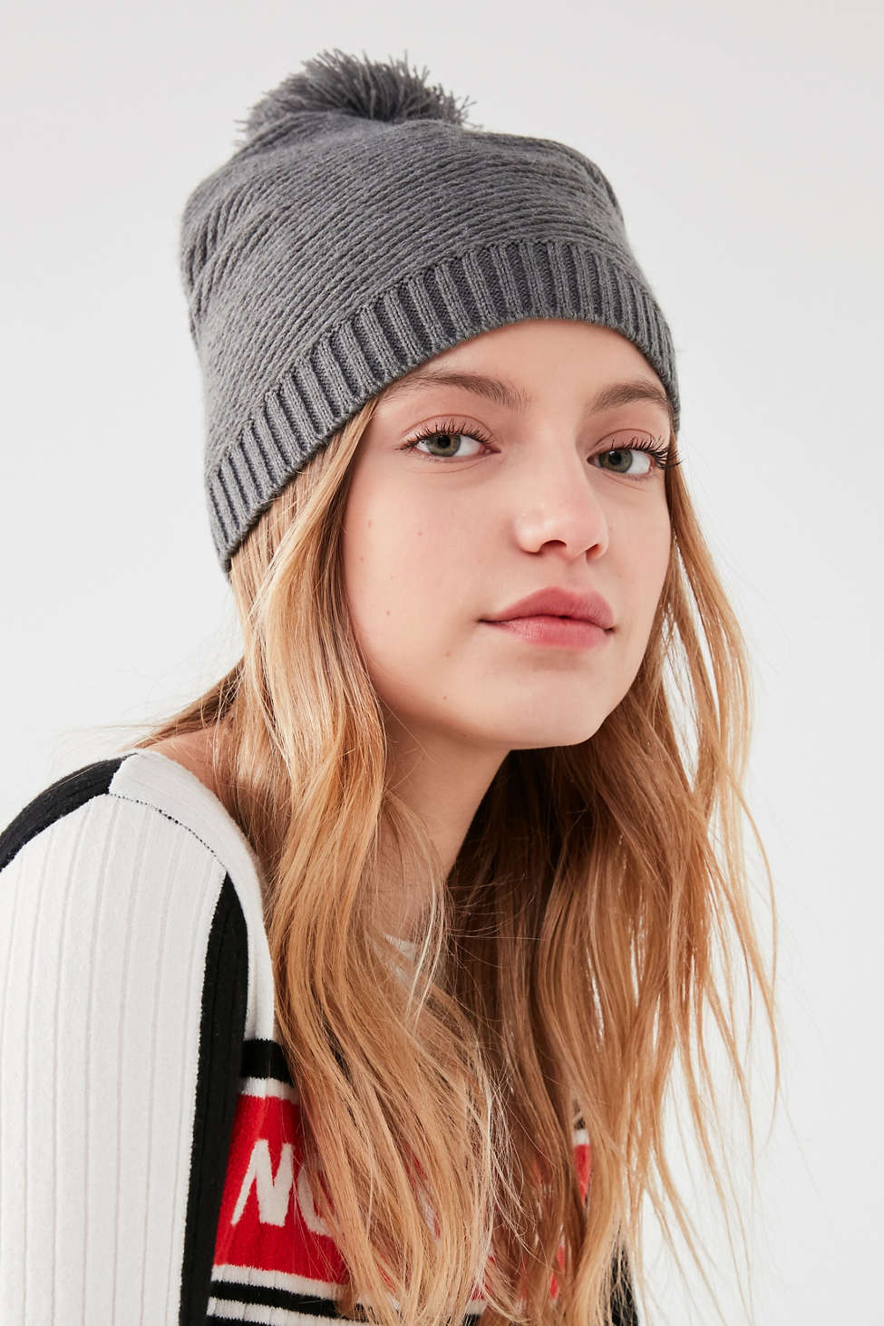 Slide View: 1: Fitted Ribbed Pompom Beanie