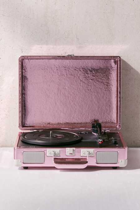 Crosley UO Exclusive Pink Foil Cruiser Bluetooth Record Player