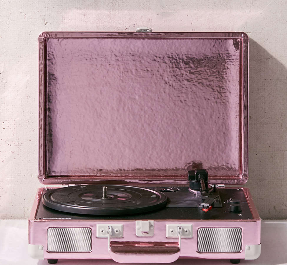 Slide View: 1: Crosley Pink Foil Cruiser Bluetooth Record Player