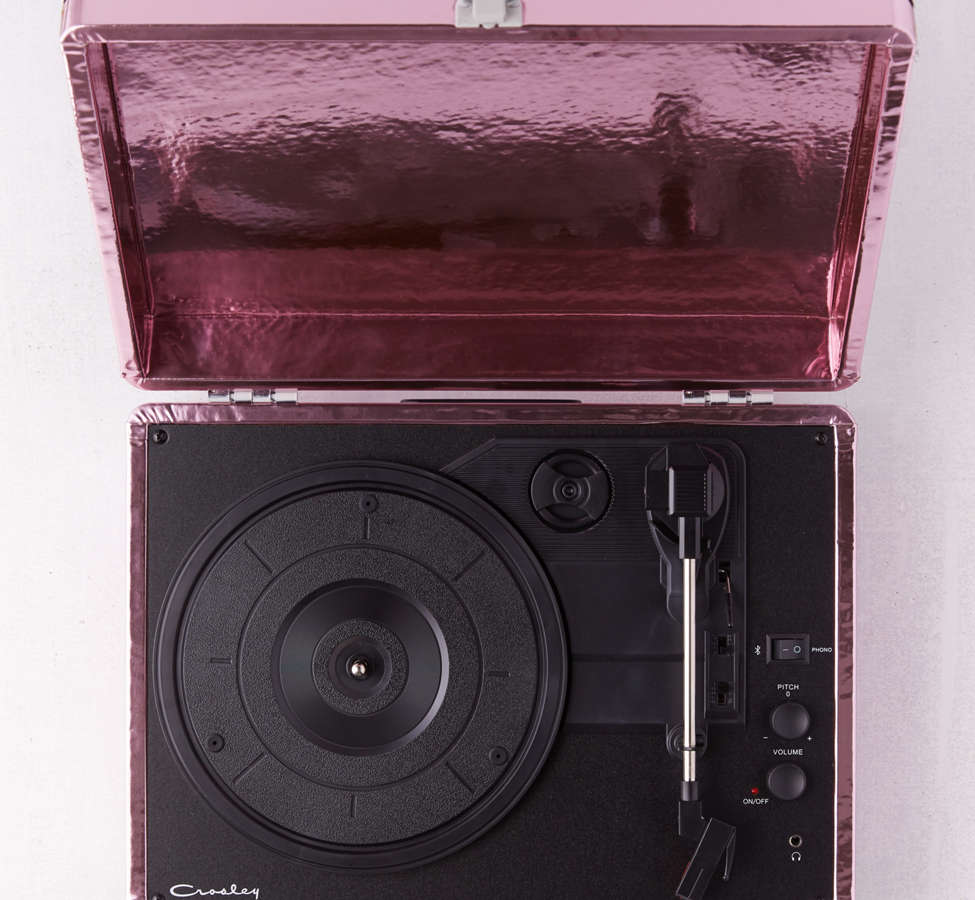 Slide View: 3: Crosley Pink Foil Cruiser Bluetooth Record Player